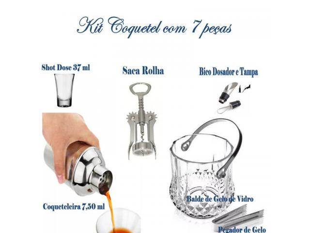 Kit Coquetel , Coqueteleira + Balde + Pegador + Shot de Dose 7peças - 1/4