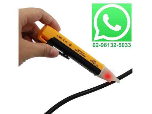 Caneta Detectora Tensão 1000v chave Teste de Energia Luz Alerta Sonoro - 1/4