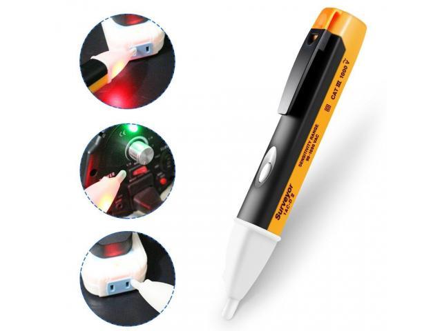 Caneta Detectora Tensão 1000v chave Teste de Energia Luz Alerta Sonoro - 2/4