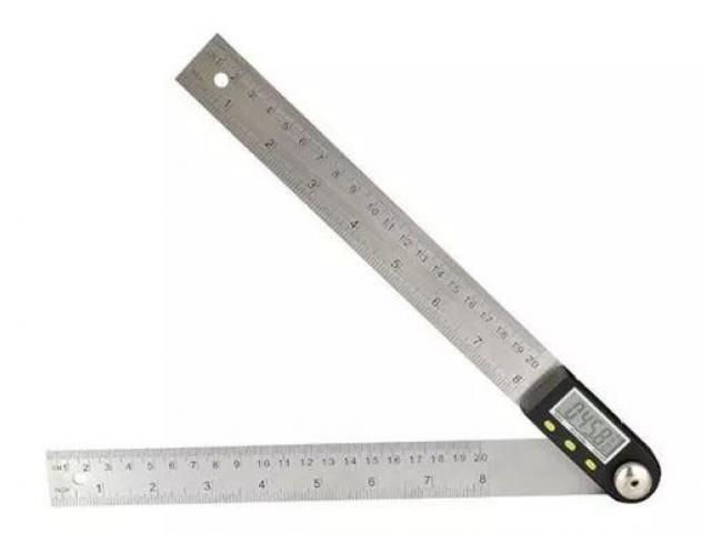 Copiador Transferidor Goniômetro Digital Régua de  Inox Medidor De Ângulo 200mm - 1/6