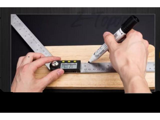 Copiador Transferidor Goniômetro Digital Régua de  Inox Medidor De Ângulo 200mm - 6/6