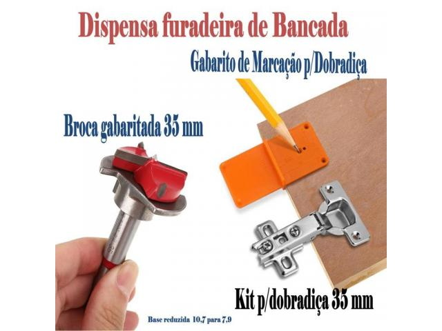 Gabarito para dobradiça - broca gabaritada 35 mm para portas de armários - 1/3
