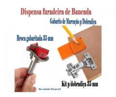Gabarito para dobradiça - broca gabaritada 35 mm para portas de armários