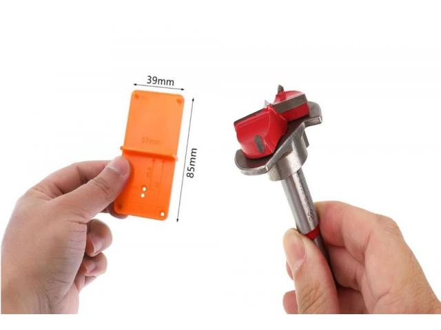 Gabarito para dobradiça - broca gabaritada 35 mm para portas de armários - 2/3