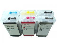 Cartuchos 72 recarregável chip full compatível c/  T610 T620 T1100 T1200 T710 T770 T790 T795 T1