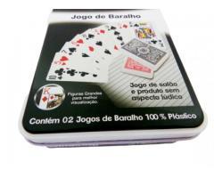 Baralho 100% Plástico - Case de Metal - Com 2 Jogos - Imagem 4/4