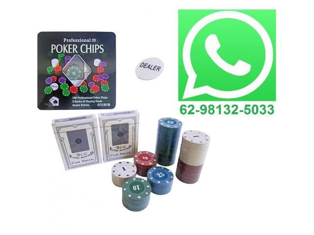Ficha De Poker Com 100 Fichas + 2 Baralhos + Dealer - Promoção - 1/3