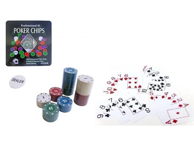 Ficha De Poker Com 100 Fichas + 2 Baralhos + Dealer - Promoção - 2/3