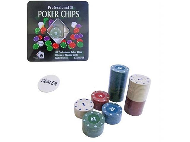 Ficha De Poker Com 100 Fichas + 2 Baralhos + Dealer - Promoção - 3/3
