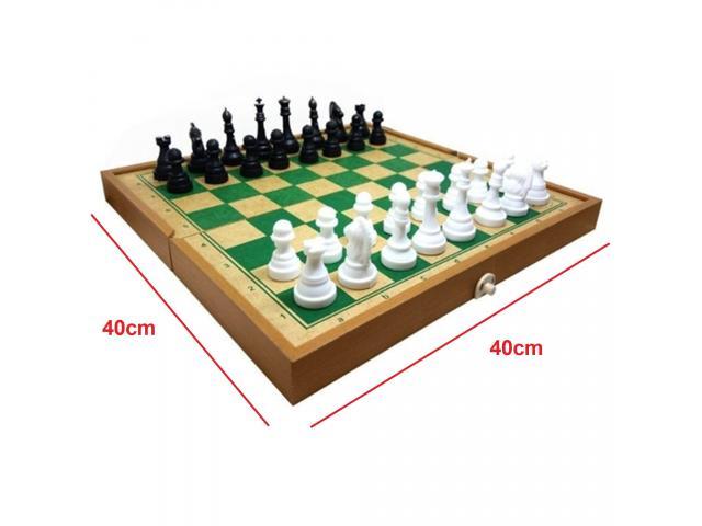 Jogo de Xadrez Dobrável - Tabuleiro Grande 40cm x 40cm - 1/3
