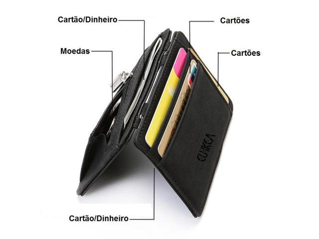 Carteira Case Porta Cartão Crédito Fina Slim Com Porta Moedas - 2/3