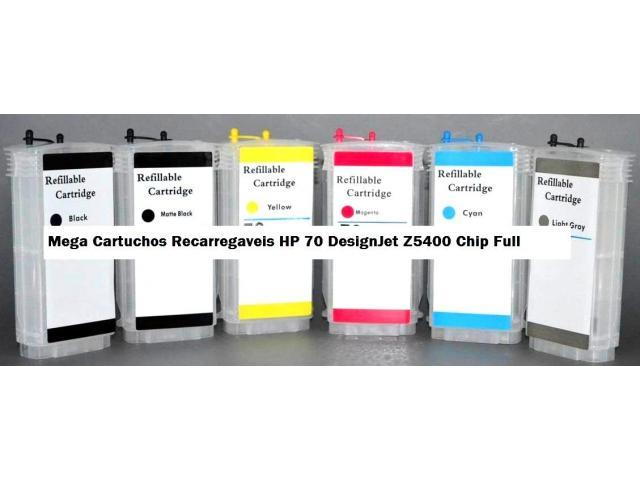 Cartuchos 70 recarregável chip full compatível  com hp 70   Plotter Z5400 6 Cores - 2/3