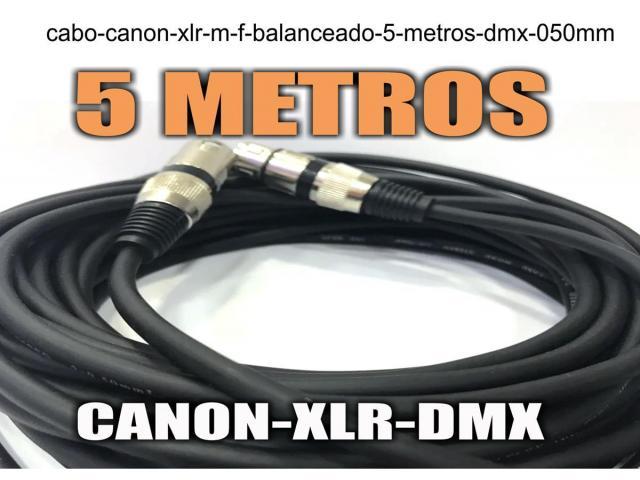 Cabo Canon Xlr M / F Balanceado -- 5 Metros - Dmx - 0,50mm - 1/4