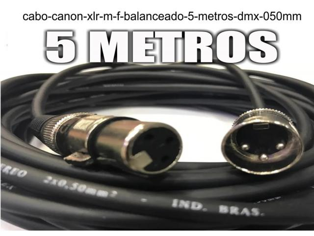 Cabo Canon Xlr M / F Balanceado -- 5 Metros - Dmx - 0,50mm - 2/4