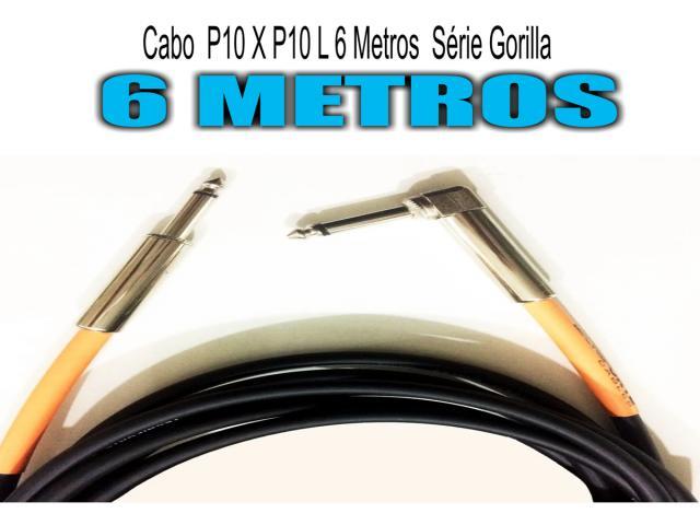 Cabo  P10 X P10 L - 6 Metros - Série Gorilla Guitarra - Baixo -Violão -Teclado - 1/5