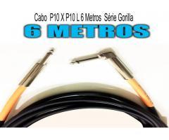 Cabo  P10 X P10 L - 6 Metros - Série Gorilla Guitarra - Baixo -Violão -Teclado