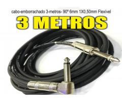Cabo Guitarra baixo Violão teclado   P10 P10 L 90°mono 3 Metros flex