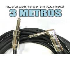 Cabo Guitarra baixo Violão teclado   P10 P10 L 90°mono 3 Metros flex - Imagem 3/4