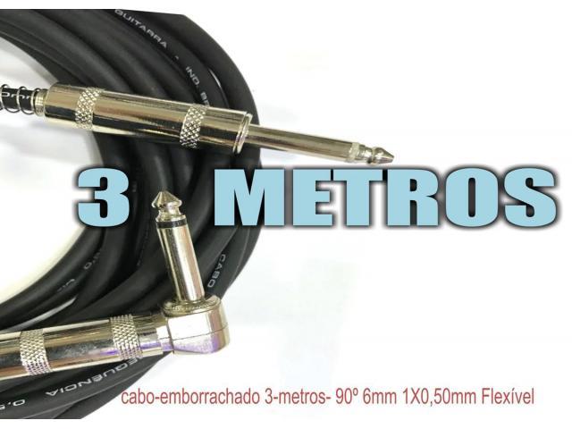 Cabo Guitarra baixo Violão teclado   P10 P10 L 90°mono 3 Metros flex - 4/4