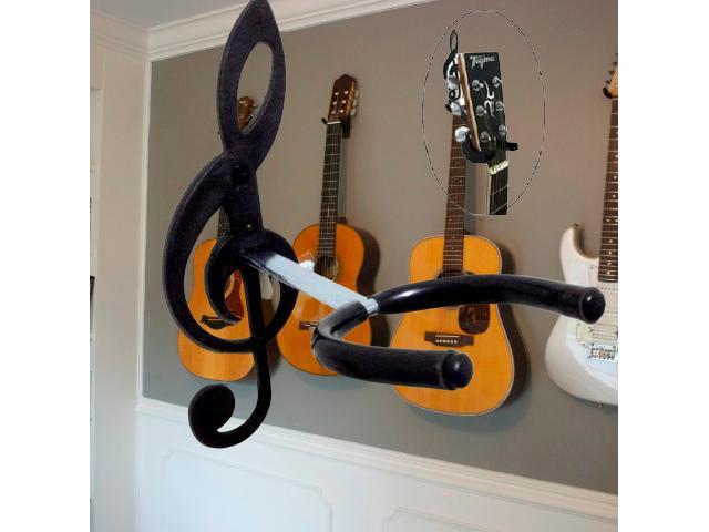 Suporte de Parede para Violão, Guitarra, Contrabaixo - Modelo Clave de Sol - 4/4