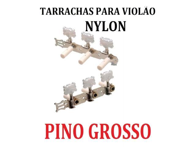 Tarraxas Para Violão tarrachas Cromada Pino Grosso e ou Fino jogo completo 6 tarraxas - 3/6