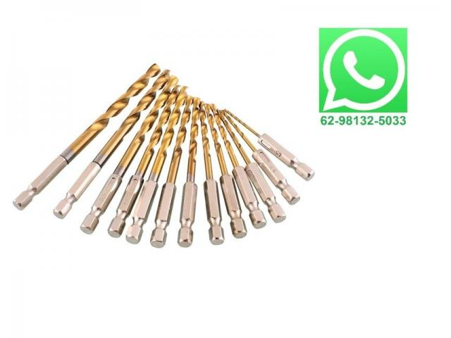 Jogo de Broca Sextavada 1.5-6.5mm 1/4 - Kit com 13 peças - 1/2