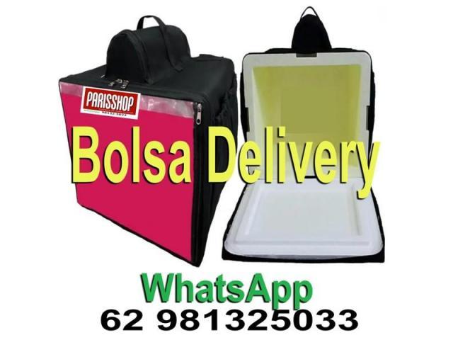Bolsa térmica 45 litros Motoboy Bag Entrega tipo IFood Pizzas lanches c/ Isopor - 1/6