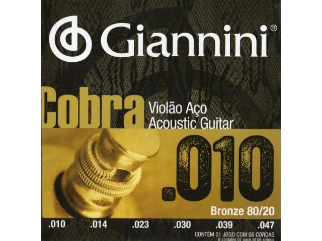 Encordoamento p/ Violão 010 jogo de Corda acoustic guitar cobra fosforo - 1/4