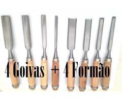Goiva & Formão kit com 8 peças  Produto profissional  Cabo de Madeira