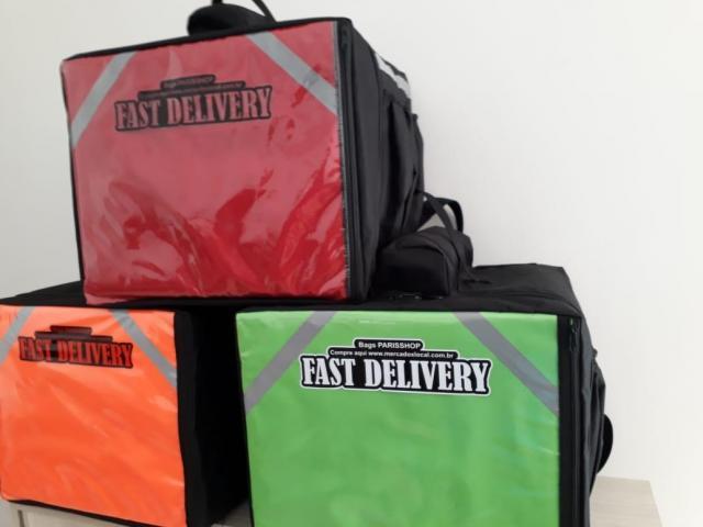 Bolsa térmica 45 litros Motoboy Bag Entrega tipo IFood Pizzas lanches c/ Isopor - 5/6