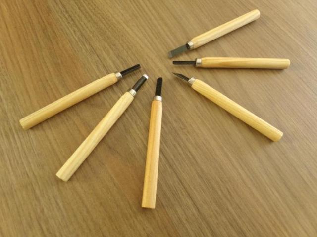 Mini Formão Goiva para Xilogravura Entalhe - Jogo com 6 Peças - 2/2
