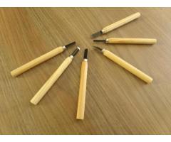 Mini Formão Goiva para Xilogravura Entalhe - Jogo com 6 Peças