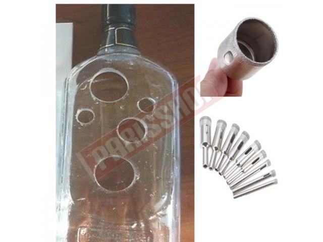 Fura Vidro garrafa Broca Diamantada p Vidro Mármore porcelanato Kit 10 pcs - 1/3