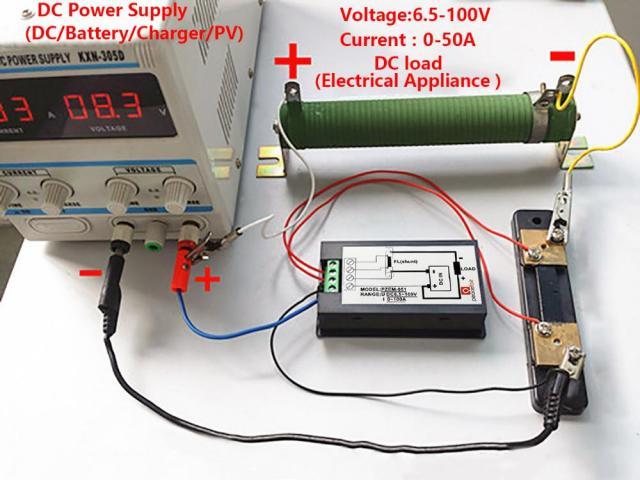 Voltímetro DC Wattímetro Amperímetro 4 em 1 6.5V a 100VDC 100A PZEM-051 - 3/5
