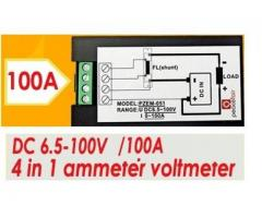 Voltímetro DC Wattímetro Amperímetro 4 em 1 6.5V a 100VDC 100A PZEM-051 - Imagem 4/5