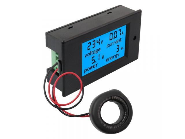 Voltímetro AC Wattímetro Amperímetro 4 Em 1 80V a 260VAC 100A - PZEM-061 - 1/6