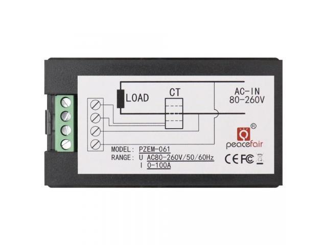 Voltímetro AC Wattímetro Amperímetro 4 Em 1 80V a 260VAC 100A - PZEM-061 - 2/6