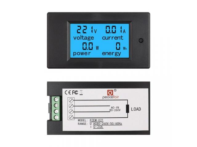 Voltímetro AC Wattímetro Amperímetro 4 Em 1 80V a 260VAC 100A - PZEM-061 - 4/6