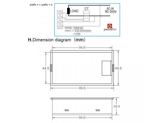 Voltímetro AC Wattímetro Amperímetro 4 Em 1 80V a 260VAC 100A - PZEM-061 - 6/6