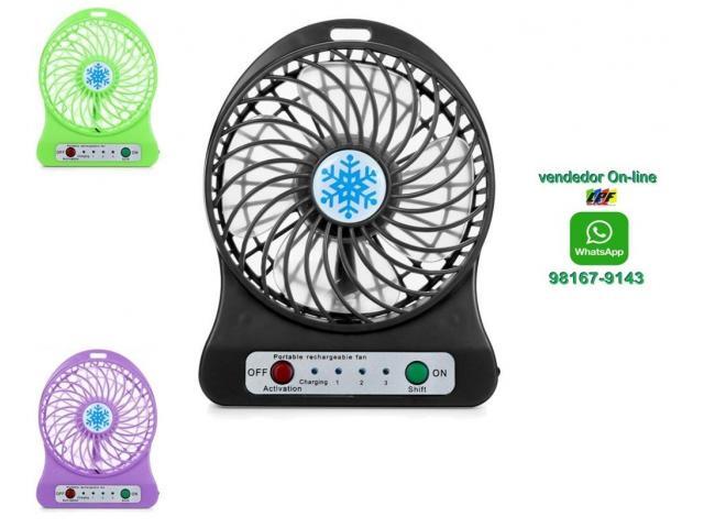 Mini Ventilador Pessoal Portátil Recarregável Com 3 Velocidades - 1/4