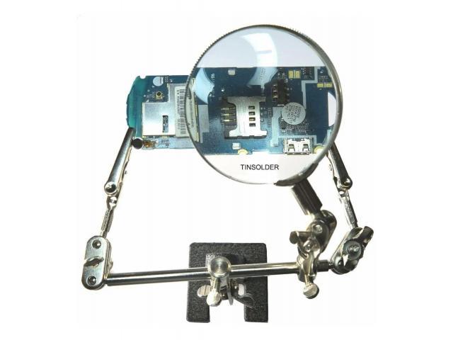 Lupa para Celular e Eletrônica Com Garras Jacaré Articulável 360º Lente de Aumento Fzf - 1/6