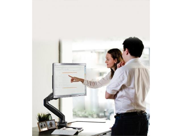 Suporte para Monitor Articulado Leia na Vertical Fixação na Borda ou no Centro da Mesa - 4/5