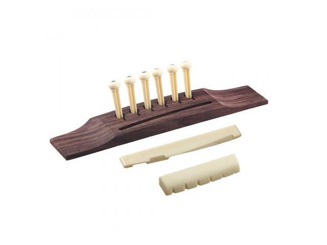 Cavalete Para Violão  Rosewood  m Madeira Maciça+ 6 pinos +nut +rastilho Kit p/ reparo violão - 1/6