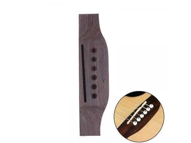 Cavalete Para Violão  Rosewood  m Madeira Maciça+ 6 pinos +nut +rastilho Kit p/ reparo violão - 3/6