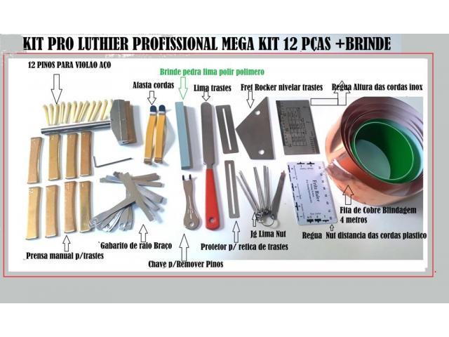Kit Luthier Pro 43 pças Prensa Manual Trastes Limas Reguas Fita de Cobre etc - 1/5
