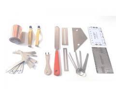 Kit Luthier Pro 43 pças Prensa Manual Trastes Limas Reguas Fita de Cobre etc