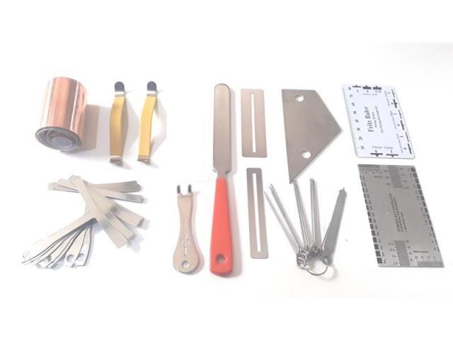 Kit Luthier Pro 43 pças Prensa Manual Trastes Limas Reguas Fita de Cobre etc - 5/5
