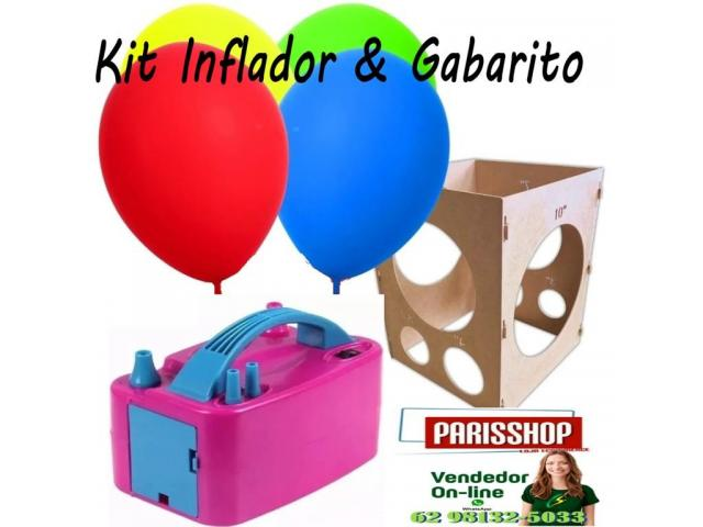 Kit festa inflador de balões + Gabarito medidor balões padronizados - 1/6
