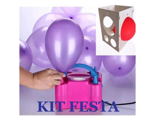 Kit festa inflador de balões + Gabarito medidor balões padronizados - 4/6