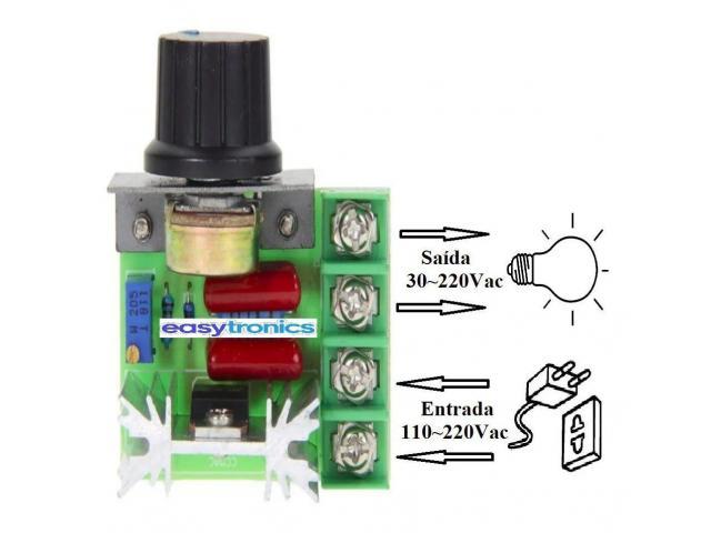 Dimmer Para maquinas  ate 2000w 50~220v Scr Regulador De Tensão Eletrônico Pwm - 1/6